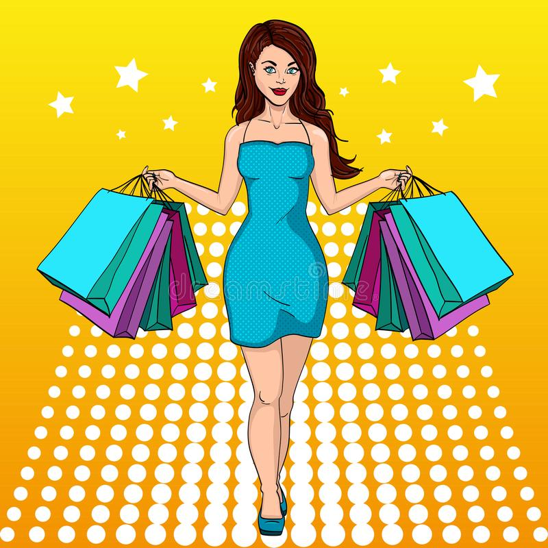 Girl with shopping. I bought a lot of clothes. Gift bags. Fashion illustration. Pop art. Compulsive buying disorder, or oniomania. Girl with shopping. I bought a vector illustration