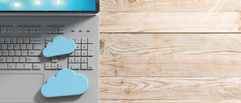 Computação da nuvem, computador e nuvens azuis no fundo de madeira ilustração 3D ilustração do vetor