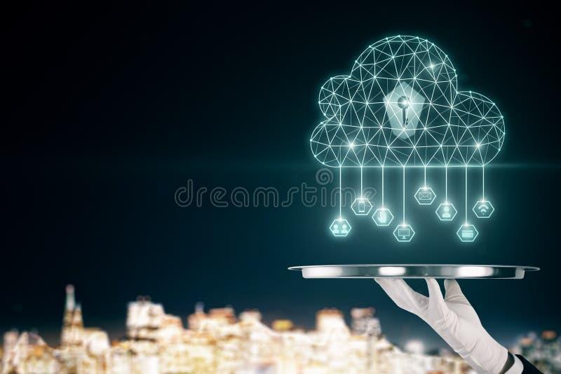 Computação da nuvem e conceito da tecnologia imagens de stock