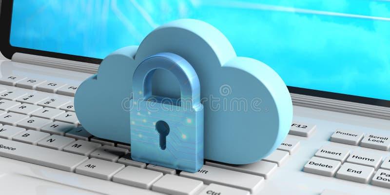 Computação da nuvem e segurança do cyber, protetor protetor dos dados Nuvem e cadeado azuis em um computador ilustração 3D ilustração do vetor