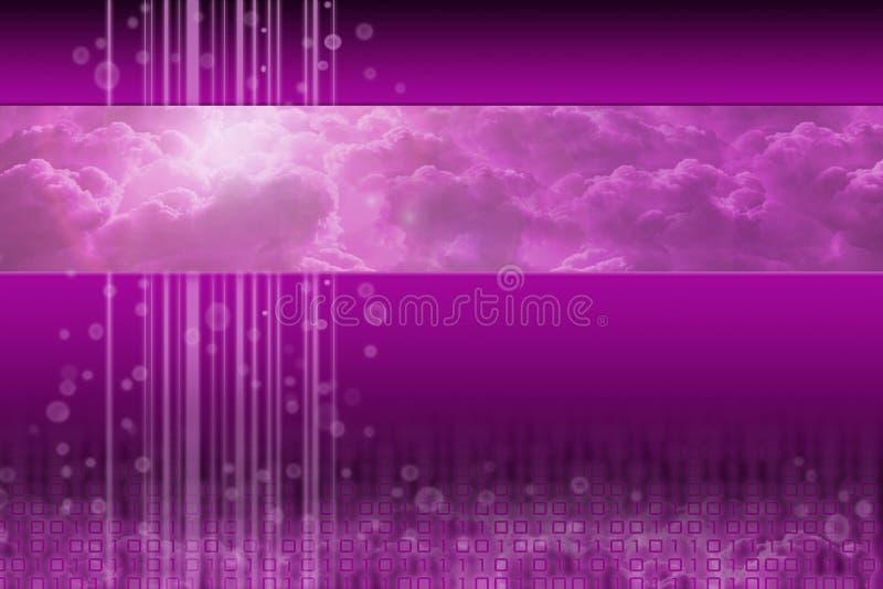 Computação da nuvem - projeto futurista roxo ilustração stock