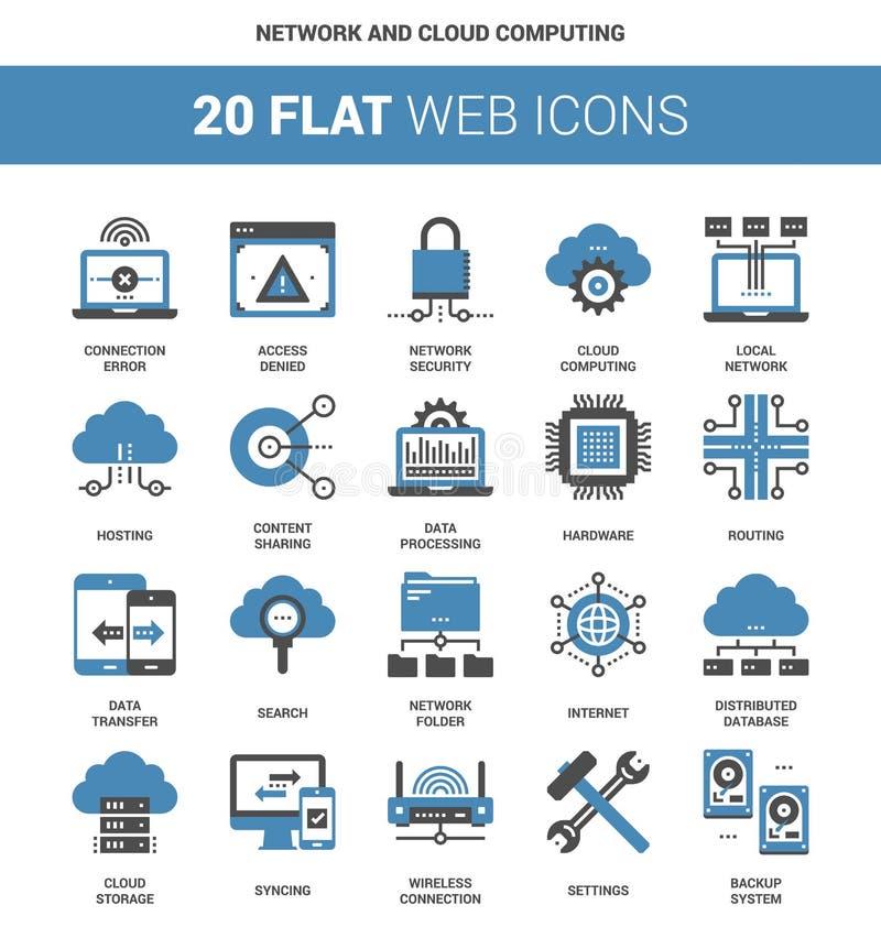 Computação da rede e da nuvem ilustração royalty free