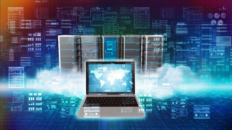 Computação do servidor da nuvem do Internet ilustração stock