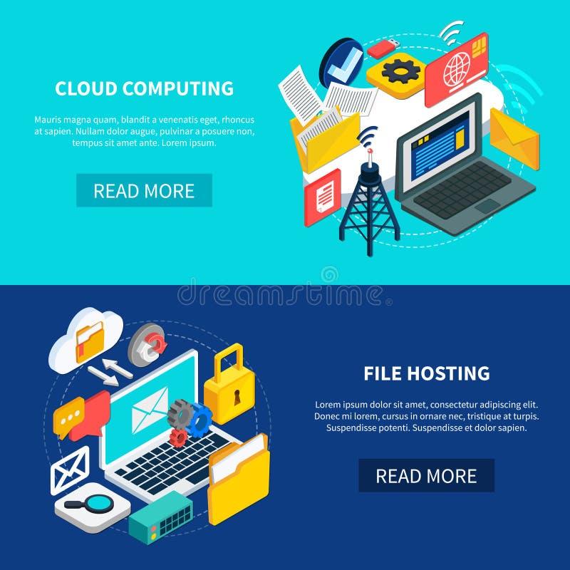 Computação e arquivo da nuvem que hospedam bandeiras ilustração royalty free