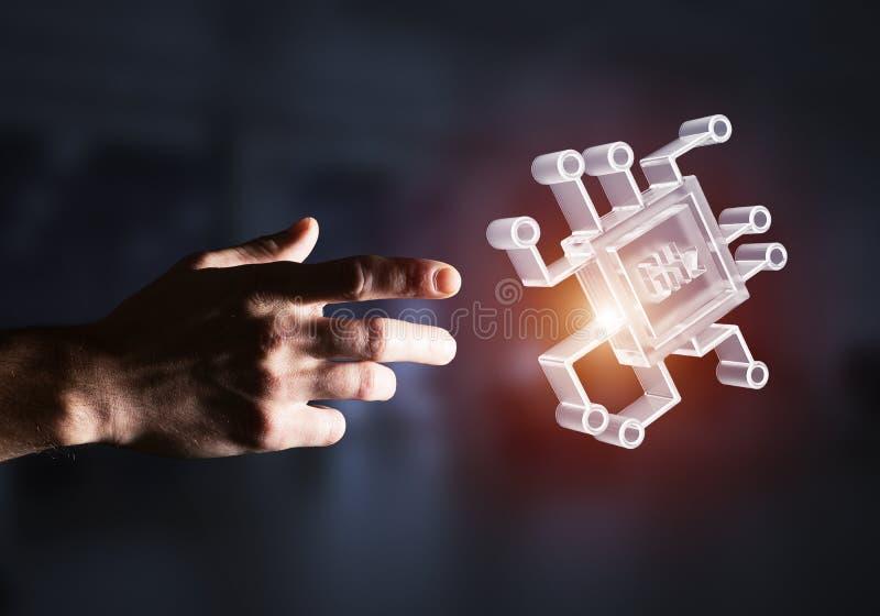 Computação e conceito da inovação com ícone da microplaqueta Meios mistos foto de stock