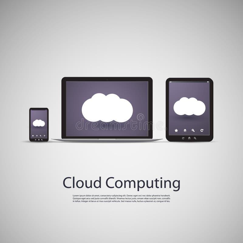 Computa??o da nuvem e conceito das redes com laptop, tabuleta e telefone de Smart ilustração royalty free
