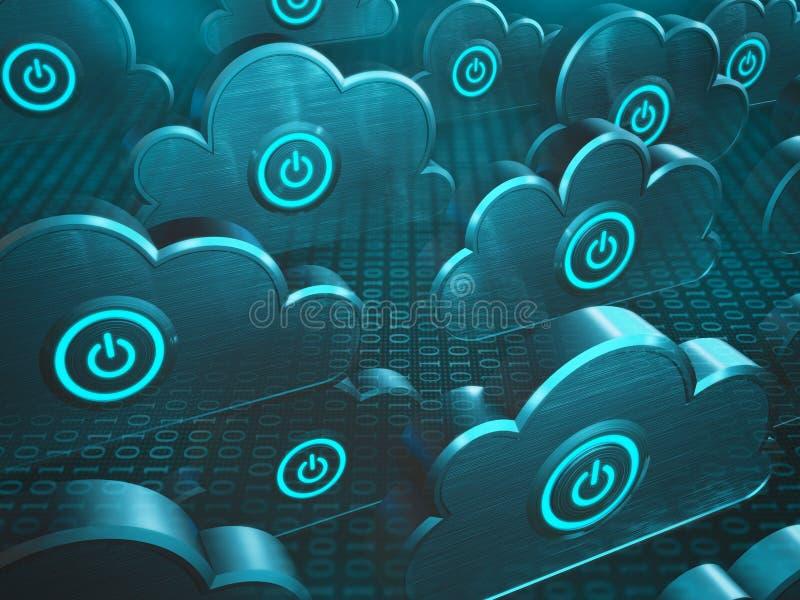 Computación de la nube del poder stock de ilustración