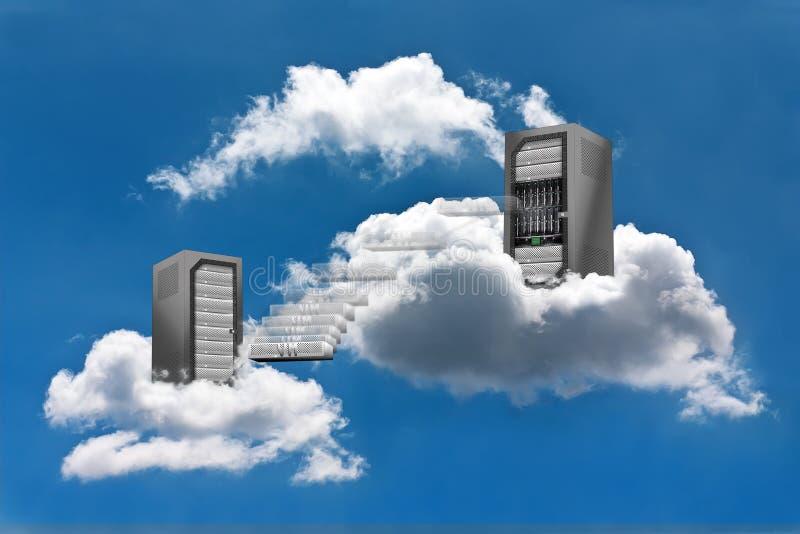 Computación de la nube - movimiento de la máquina virtual fotos de archivo libres de regalías
