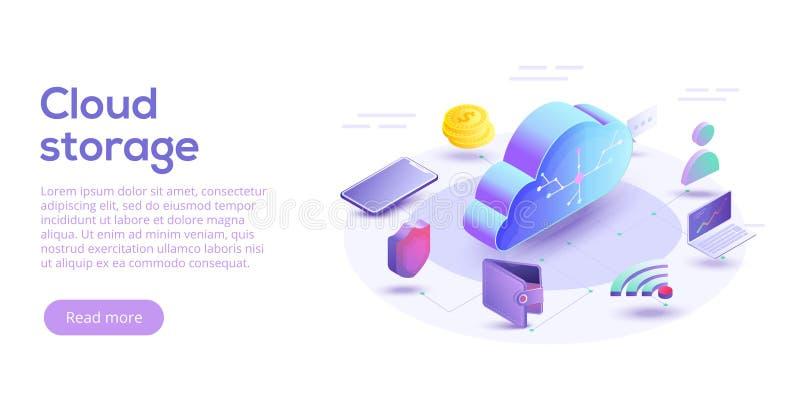 Computación de la nube o ejemplo isométrico del vector del almacenamiento estafa 3d libre illustration