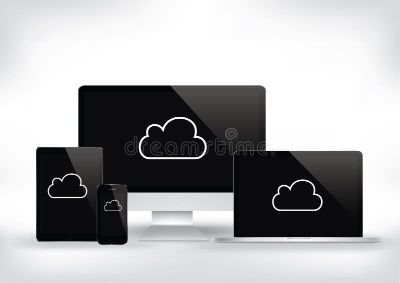 Computación de la nube - ordenador, ordenador portátil, tableta, vector i del smartphone ilustración del vector