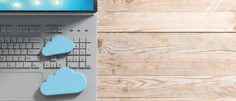 Computación de la nube, ordenador y nubes azules en fondo de madera ilustración 3D ilustración del vector