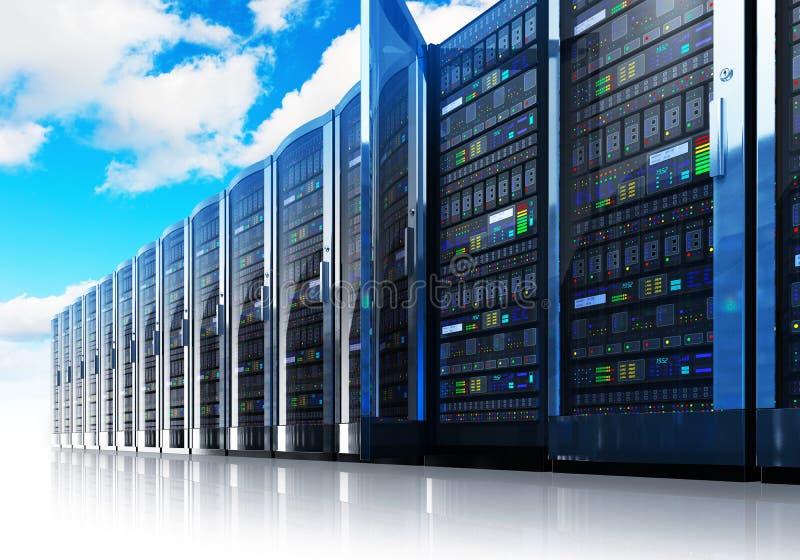 Computación de la nube y concepto del establecimiento de una red del ordenador ilustración del vector