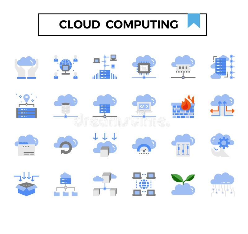 Computación de la nube y sistema plano del icono del diseño de la conexión stock de ilustración