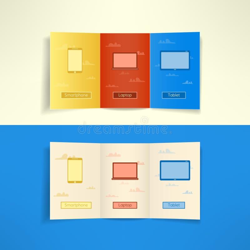 Computación moderna de la nube del prospecto del folleto de tres dobleces stock de ilustración