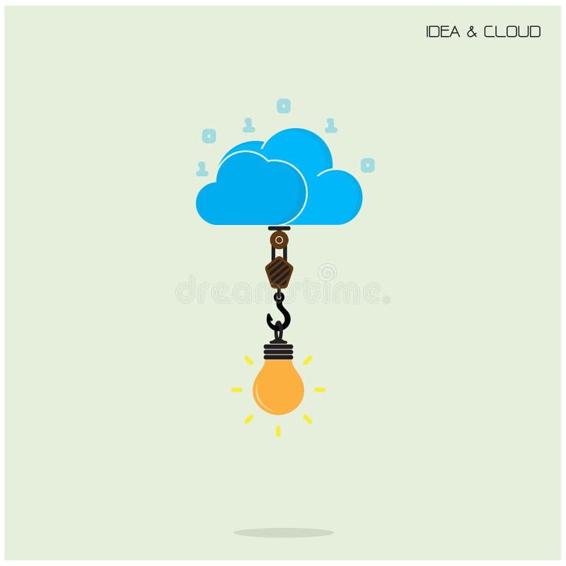 Computación plana de la tecnología de la nube y concepto creativo de la idea del bulbo ilustración del vector