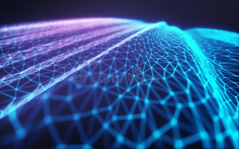 Computación/red neuronal de la nube stock de ilustración