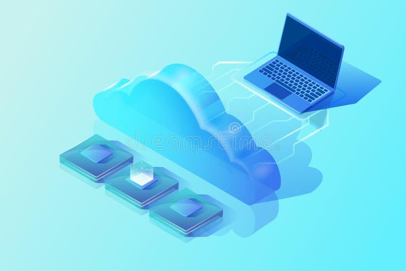 Computación y almacenamiento digital de la nube Ejemplo isométrico del vector Concepto de diseño abstracto libre illustration