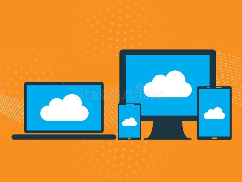 Computación y comunicación de la nube como acceso a datos stock de ilustración