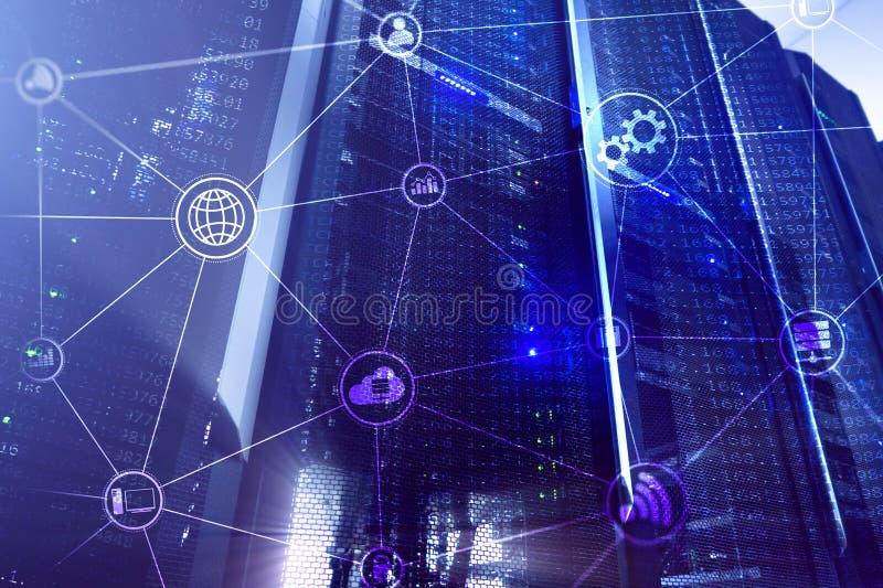 Computaci?n y comunicaci?n de la nube de la infraestructura de la tecnolog?a Concepto del Internet foto de archivo