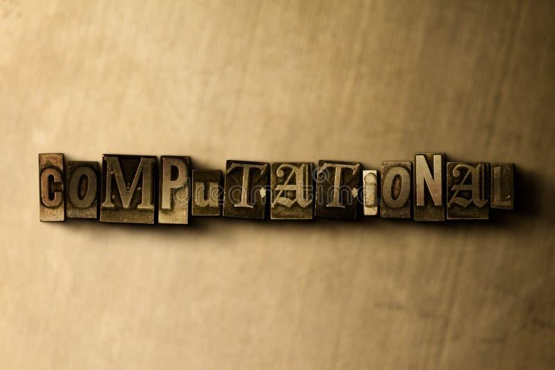 COMPUTACIONAL - o close-up do vintage sujo typeset a palavra no contexto do metal ilustração stock