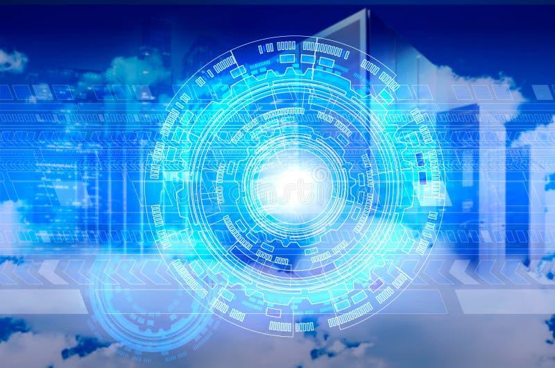Computador abstrato no céu nebuloso como o símbolo para nuvem-computar imagens de stock