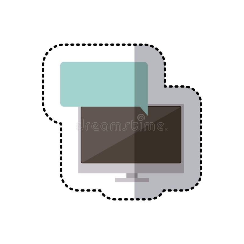computador colorido da tela da tecnologia da etiqueta na caixa lisa larga do callout do diálogo ilustração do vetor