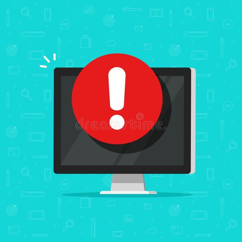 Computador com alarme ou ícone alerta do vetor do sinal, exposição lisa do PC com sinal da exclamação, conceito do perigo ou mens ilustração stock