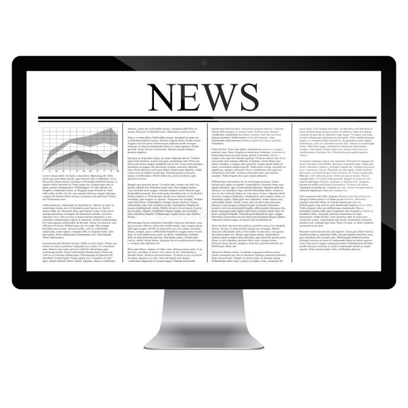 Computador com artigo noticioso na tela ilustração do vetor