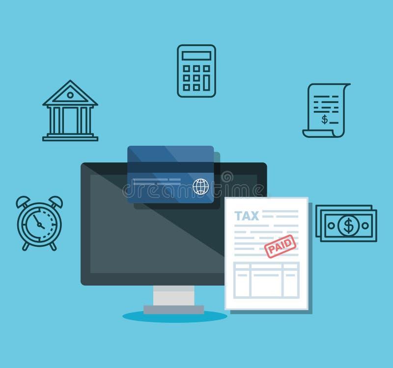 Computador com cartão de crédito e documento do relatório ilustração do vetor