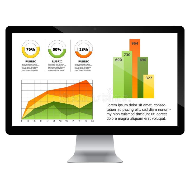 Computador com carta das estatísticas ilustração stock