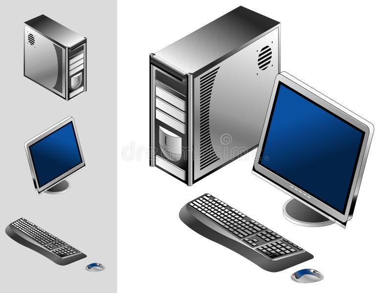 Computador com caso, teclado, rato e monitor ilustração royalty free