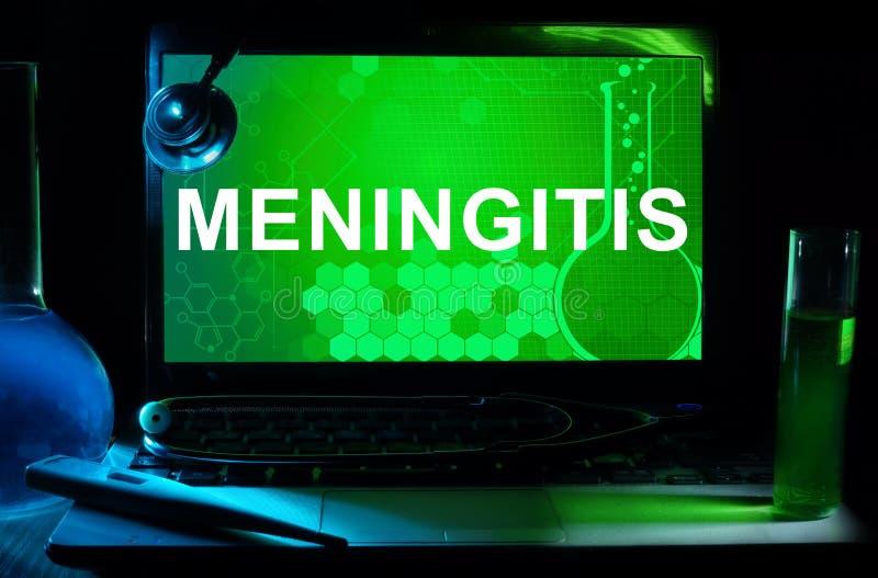 Computador com meningite das palavras ilustração do vetor