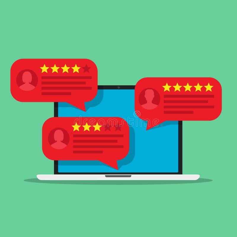 Computador com mensagens da avaliação da revisão do cliente ilustração stock