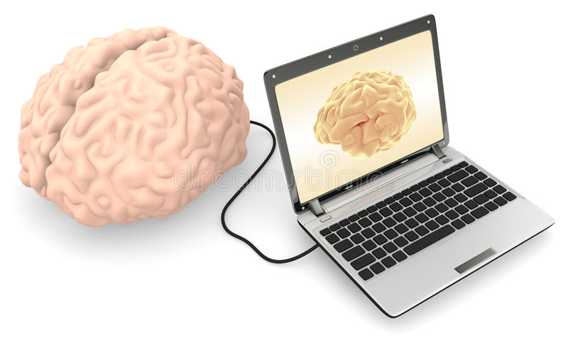 Computador conectado a um cérebro humano ilustração royalty free