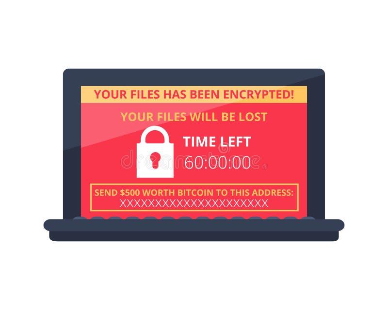 Computador contaminado pelo vírus wannacry do ransomware do malware ilustração do vetor