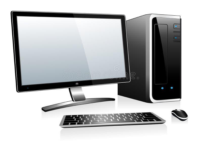 computador 3D com teclado e rato do monitor ilustração do vetor