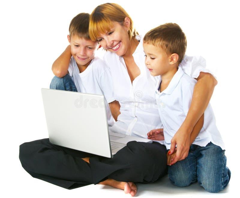 Computador da família imagem de stock