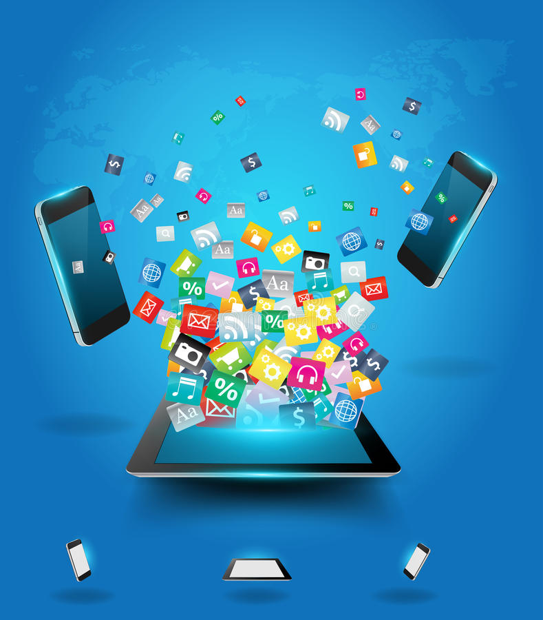 Computador da tabuleta do vetor com a nuvem dos telemóveis de ilustração royalty free
