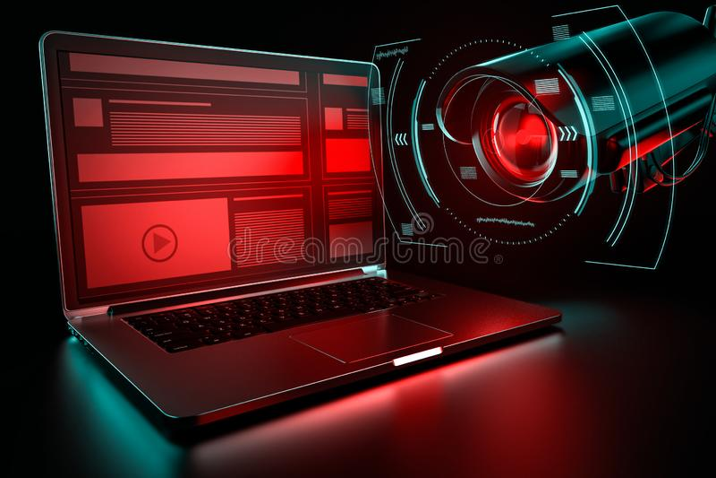 Computador de escritório e cctv que procuram por dados sensíveis Conceito do incidente da espionagem rendição 3d ilustração royalty free