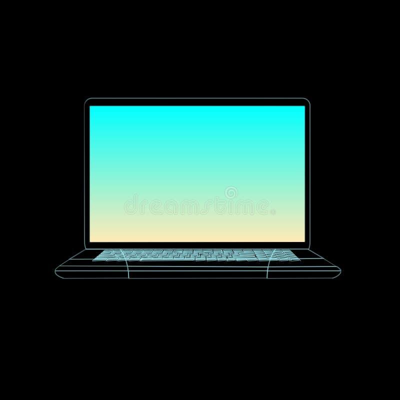 Computador de néon, azul moderno do tela plano, caderno isolado no fundo preto Ilustração do monitor do vetor Indicador de comput ilustração royalty free