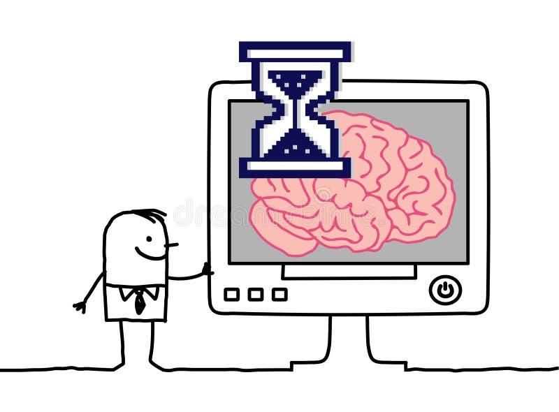 Computador de pensamento ilustração stock