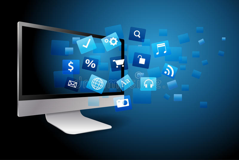 computador de secretária com com a nuvem de ícones da aplicação da cor ilustração stock