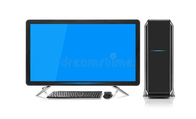 Computador de secretária moderno com teclado e o rato sem fio imagens de stock royalty free