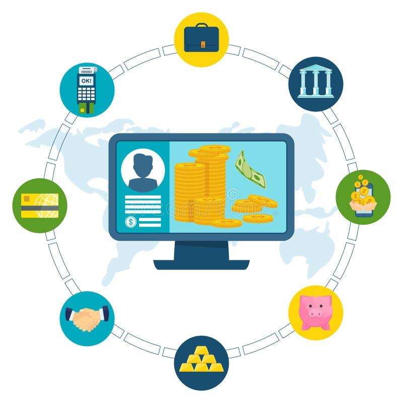 Computador do conceito da transação eletrônica ilustração stock