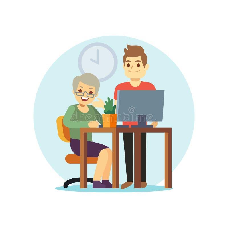 Computador do homem novo e da mulher adulta Grangma e neto ilustração do vetor