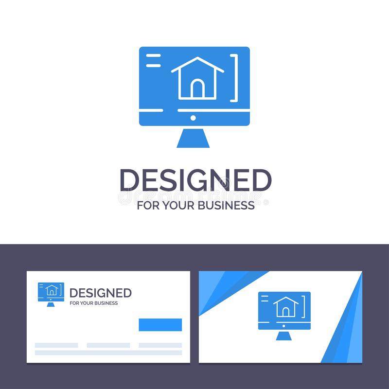 Computador do molde criativo do cartão e do logotipo, casa, ilustração do vetor da casa ilustração royalty free