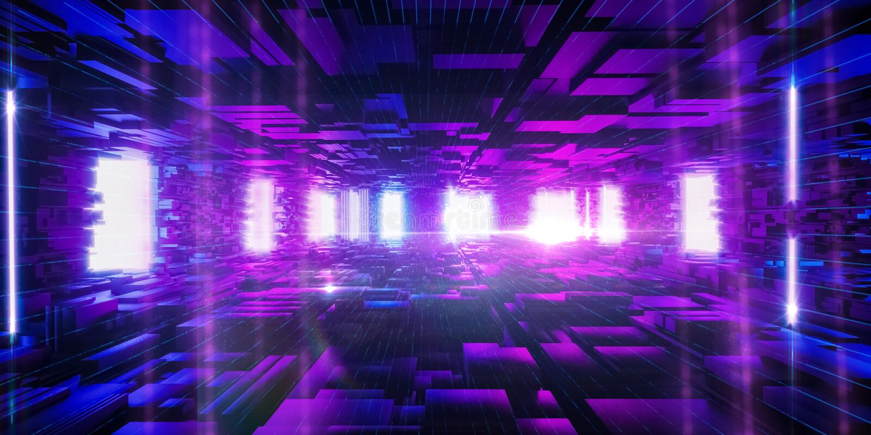 Computador do quantum, armazenamento, realidade virtual, luz de n?on azul do rosa futurista ilustração stock
