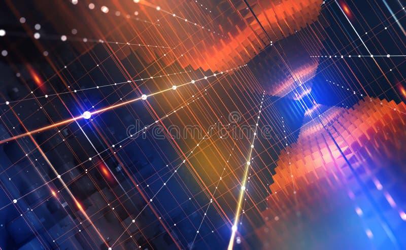 Computador do quantum Tecnologia de rede global Blockchain Mundo de Digitas do futuro ilustração royalty free