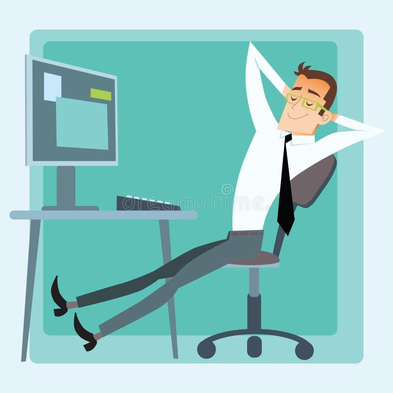 Computador do resto do escritório do trabalhador ilustração stock