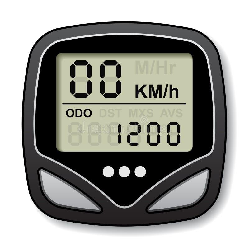 Computador do velocímetro da bicicleta ilustração royalty free
